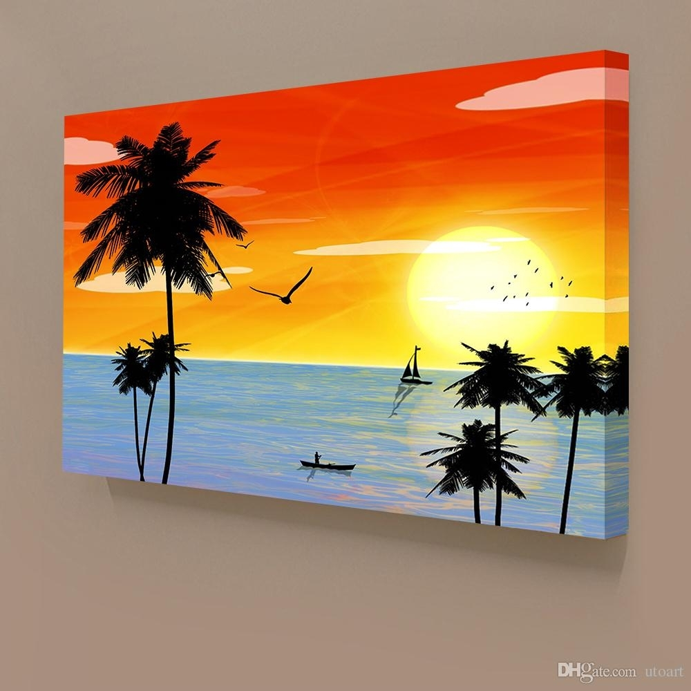 2018 Sunset Landscape Hawaii Seascape Canvas Painting Home Decor Intended For Recent Hawaii Canvas Wall Art (Gallery 6 of 15)