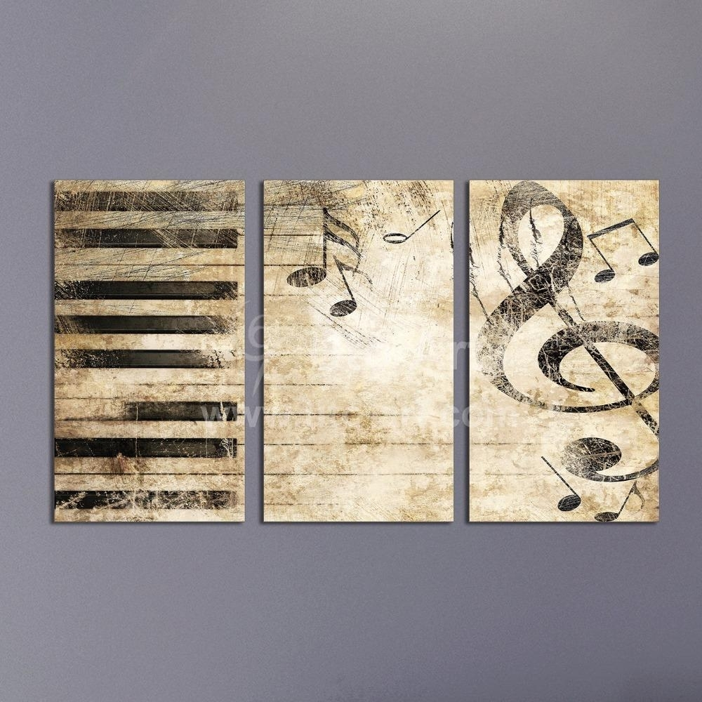 2018 Triptych Custom Multiple Panel Canvas Painting Piano Music For Most Current Music Canvas Wall Art (Gallery 5 of 15)