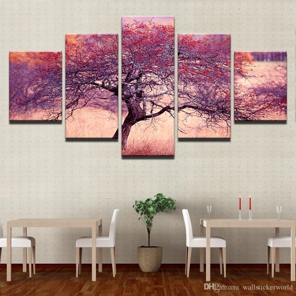 2018 Wall Art Home Decor Living Room Painting Modular 5 Panel Intended For 2017 Red Canvas Wall Art (View 14 of 15)