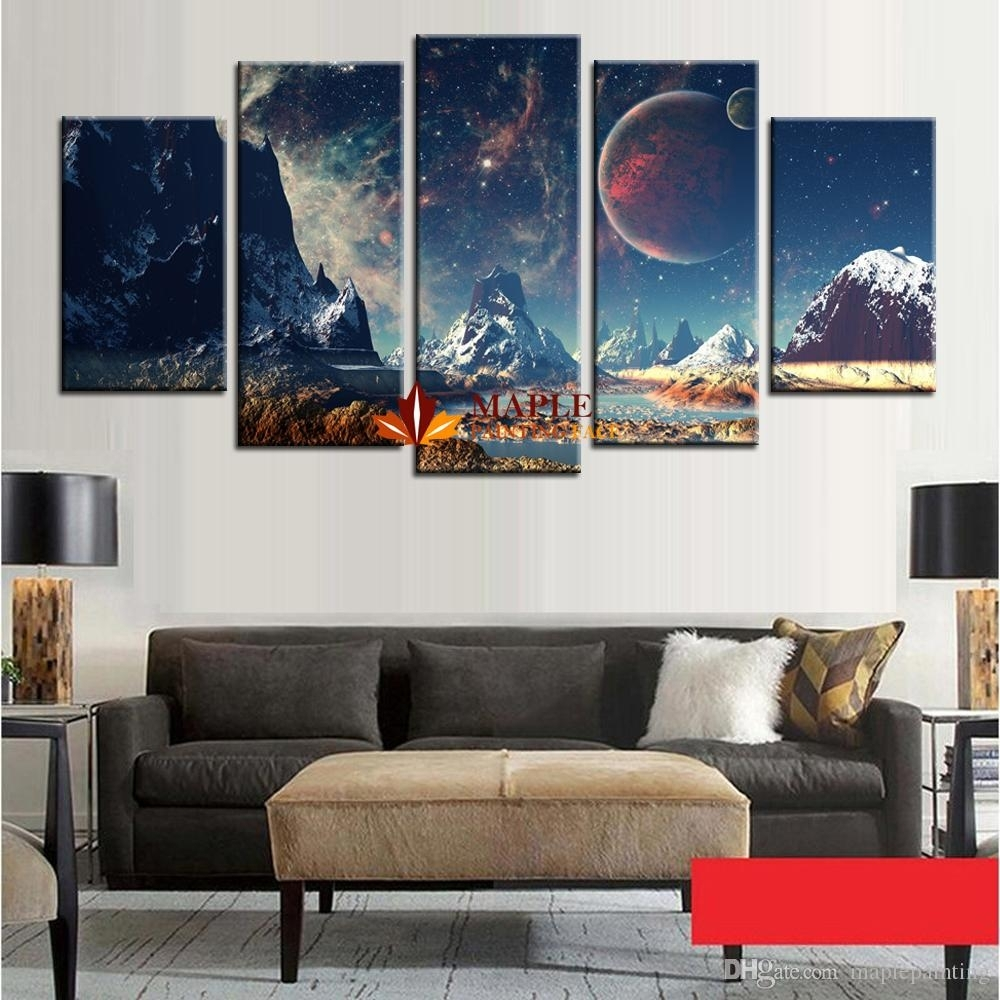 2018 Wholesale Canvas Set Mountains And Space Photos Printed On Intended For Best And Newest Mountains Canvas Wall Art (View 3 of 15)