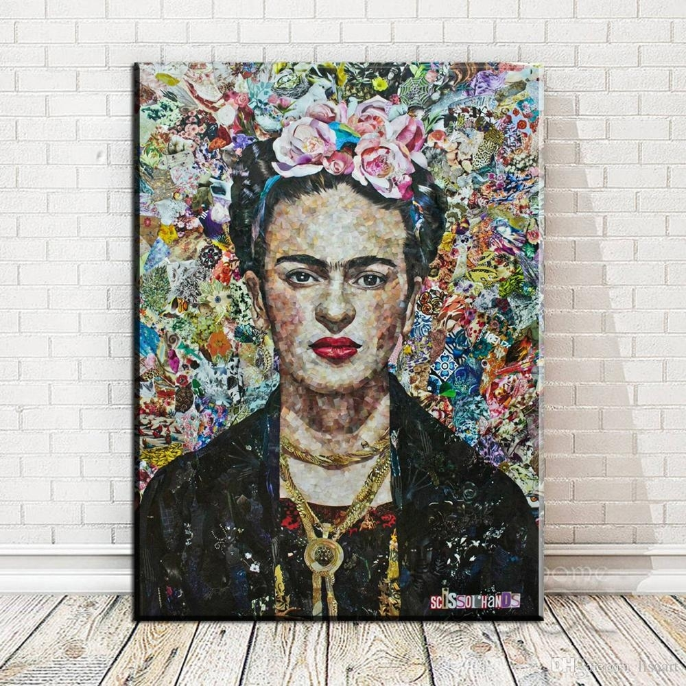 2018 Zz145 Frida Kahlo Self Portrait Canvas Art Print Poster, Wall Intended For Most Popular Portrait Canvas Wall Art (View 3 of 15)