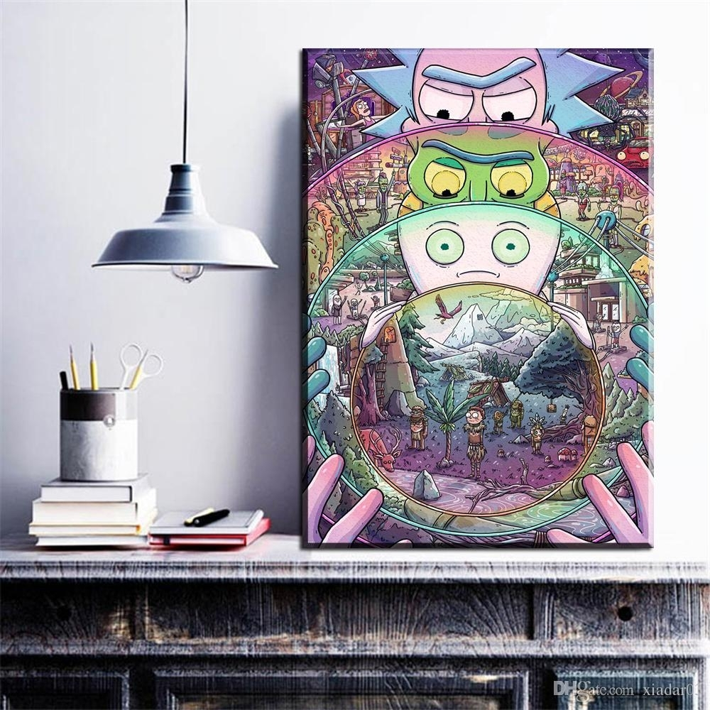 2018 Zz1642 Rick & Morty Cartoon Pop Art Poster Top Fabric Print Regarding Most Up To Date Wall Art Fabric Prints (View 15 of 15)