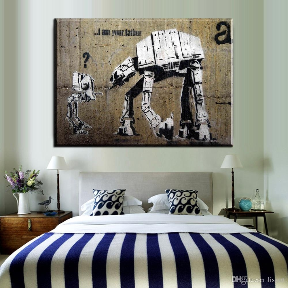 2018 Zz68 Graffiti Banksy Canvas Wall Art Robot Banksy Canvas Within 2017 Bedroom Canvas Wall Art (Gallery 8 of 15)