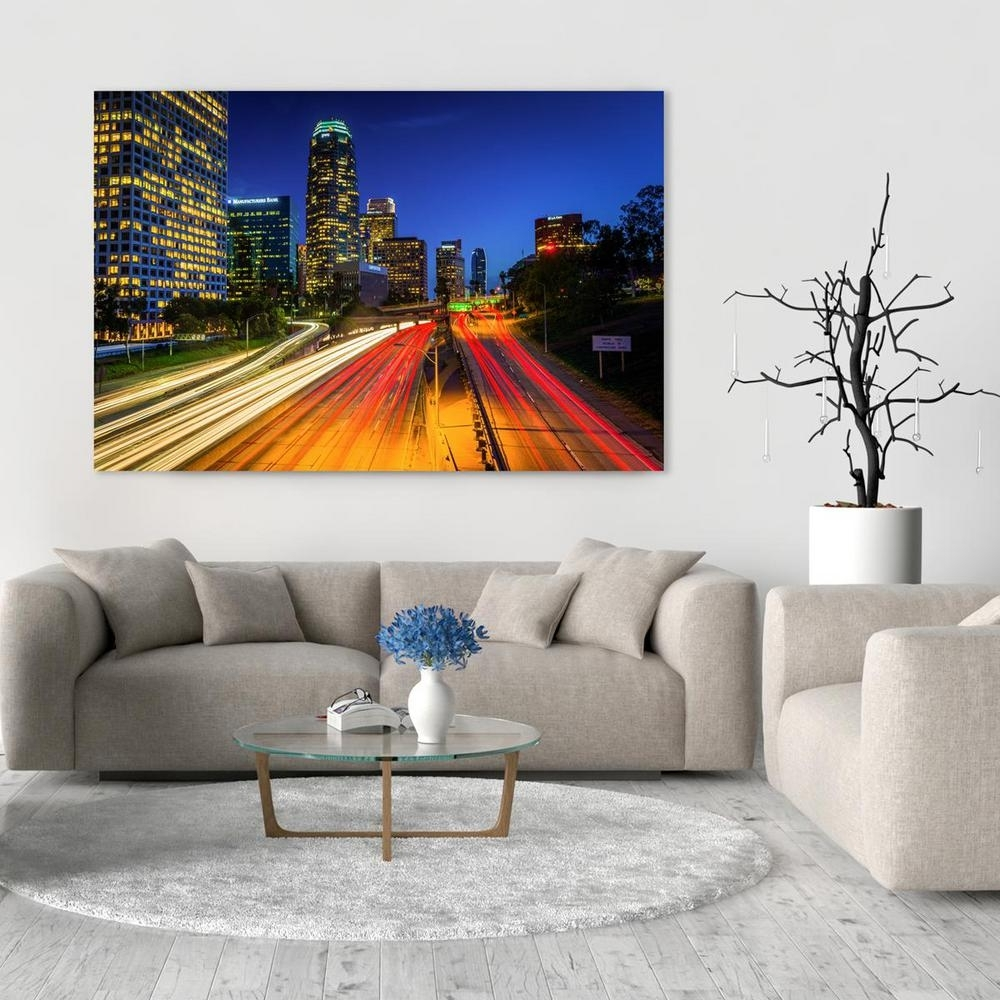 "24 In. X 36 In. ""the Downtown Los Angeles Skyline At Night Pertaining To Most Recently Released Los Angeles Canvas Wall Art (Gallery 10 of 15)"