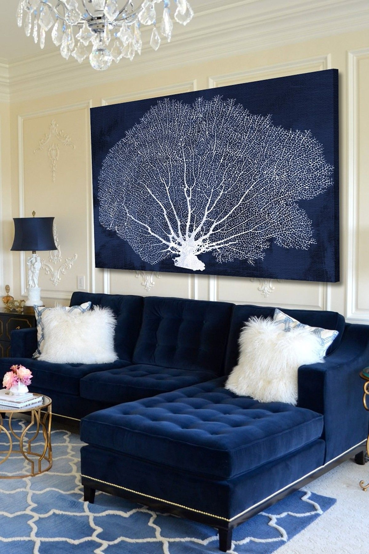 25 Stunning Living Rooms With Blue Velvet Sofas | Blue Velvet Sofa For Most Popular Navy Canvas Wall Art (View 6 of 15)