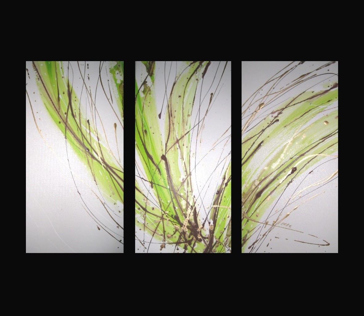 3 Abstract Canvas Painting White Lime Green Brown (View 4 of 15)