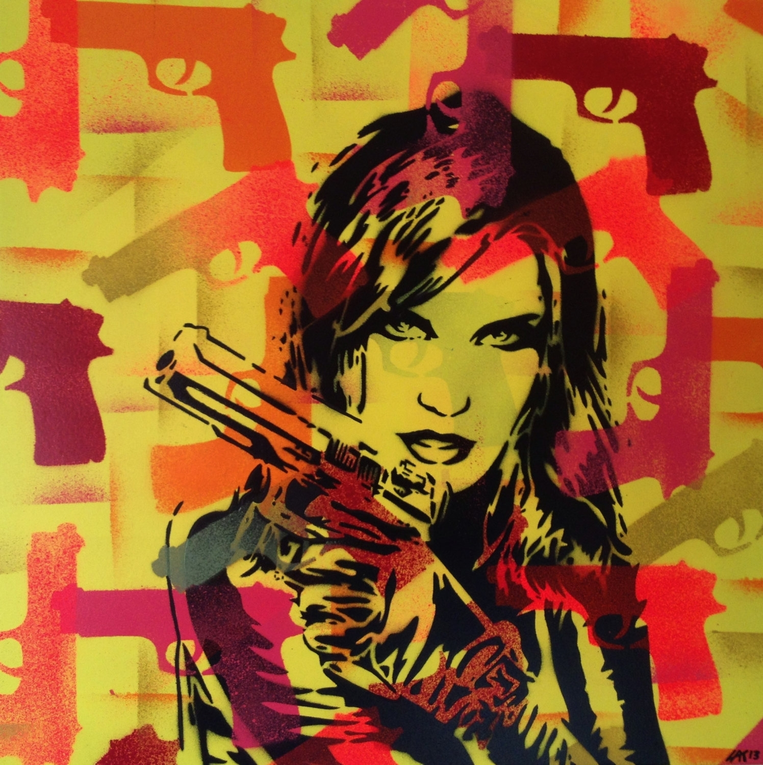 3 Digital Downloads,pop Art Painting,woman With Gun,canvas,stencil pertaining to Recent European Framed Art Prints