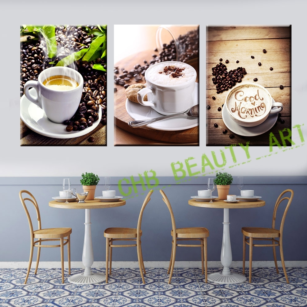 3 Panel Coffee Tea Modern Canvas Print Painting Wall Art Picture With Most Recently Released Coffee Canvas Wall Art (Gallery 8 of 15)
