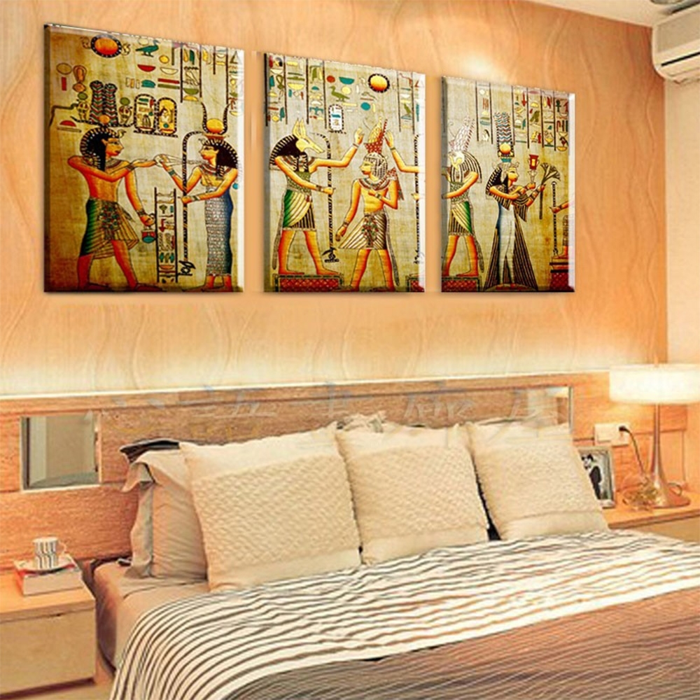 3 Panel Pharaoh Egyptian Decor Modern Abstract Canvas Painting Art With Regard To Most Up To Date Egyptian Canvas Wall Art (View 5 of 15)
