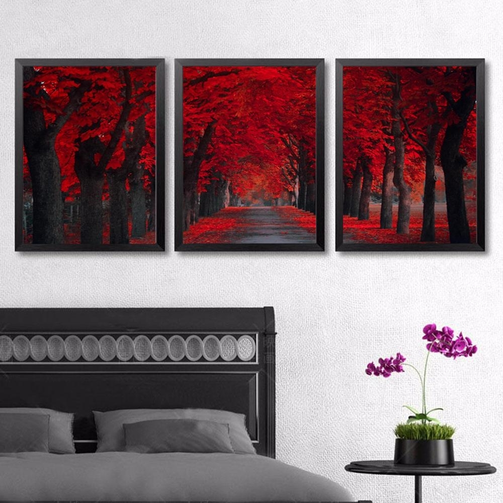 3 Panels Red Forest Landscape Canvas Painting Home Decor Canvas Pertaining To 2017 Red Canvas Wall Art (View 4 of 15)