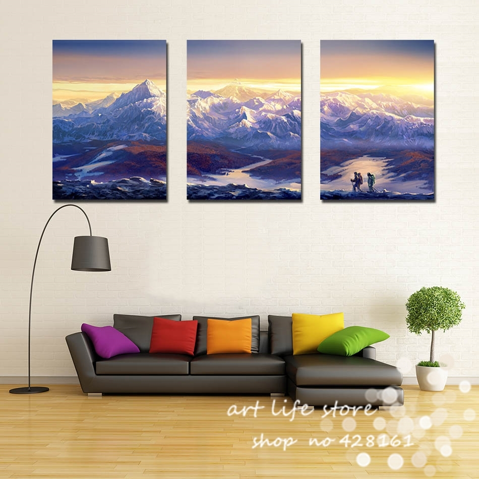 3 Panels Wall Decoration Modern Wall Painting Beautiful Mountain Regarding Most Current Mountains Canvas Wall Art (Gallery 6 of 15)