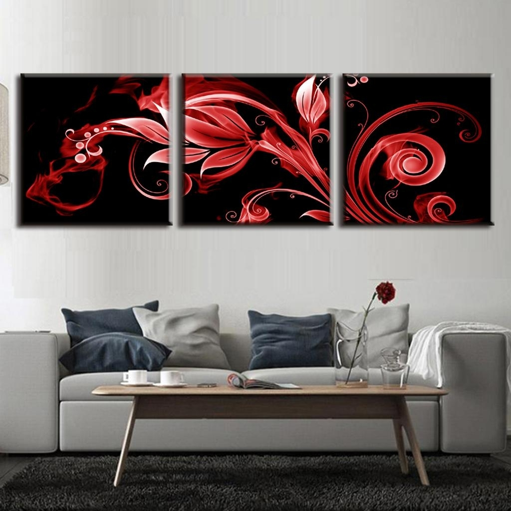 3 Pcs/set Artist Canvas Red Flame Flowers Canvas Wall Art Picture Throughout Best And Newest Red Flowers Canvas Wall Art (View 2 of 15)