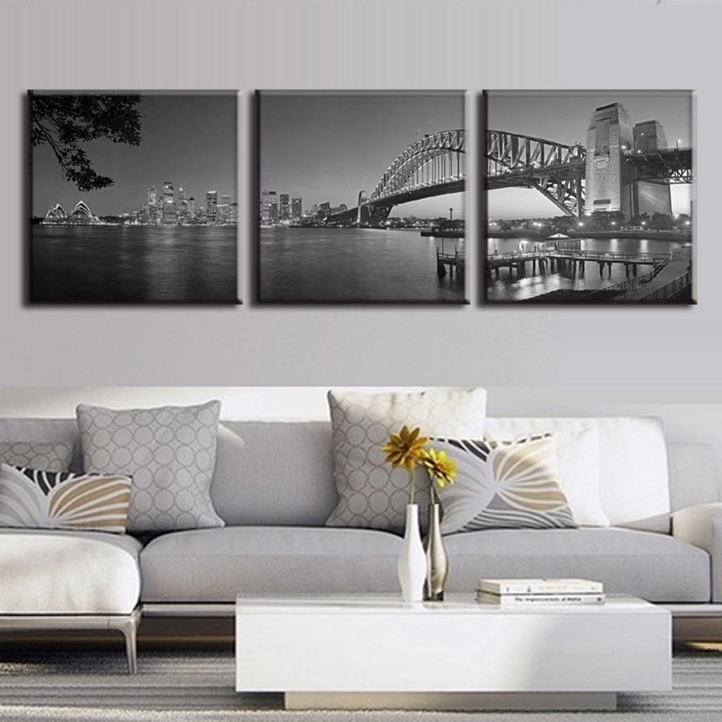 3 Pcs/set Australia Landscape Grey Sydney Harbour Bridge Canvas For Most Recently Released Grey Canvas Wall Art (View 3 of 15)