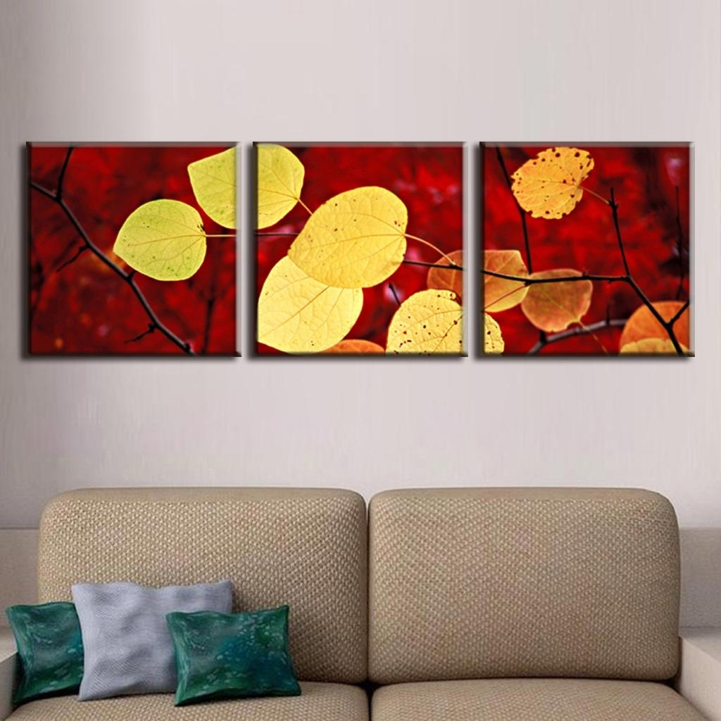 3 Pcs/set Autumn Leaves Painting Canvas Print Modern Wall With Newest Leaves Canvas Wall Art (View 2 of 15)
