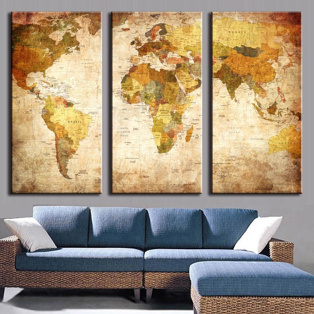 3 Pcs/set Classic World Maps Wall Art For Living Room Retro Yellow Pertaining To Newest Retro Canvas Wall Art (View 2 of 15)