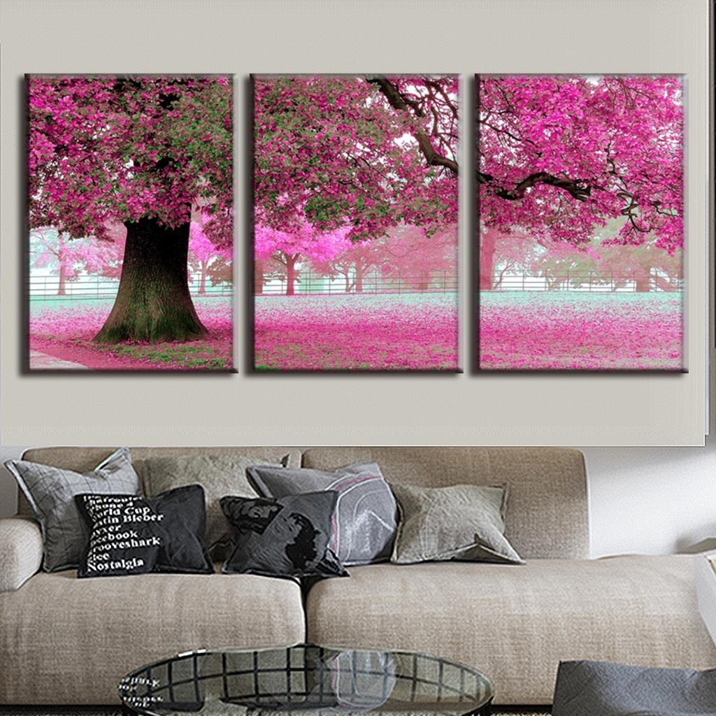 3 Pcs/set Discount Framed Paintings Modern Landscape Canvas Print With 2018 Pink Canvas Wall Art (Gallery 2 of 15)