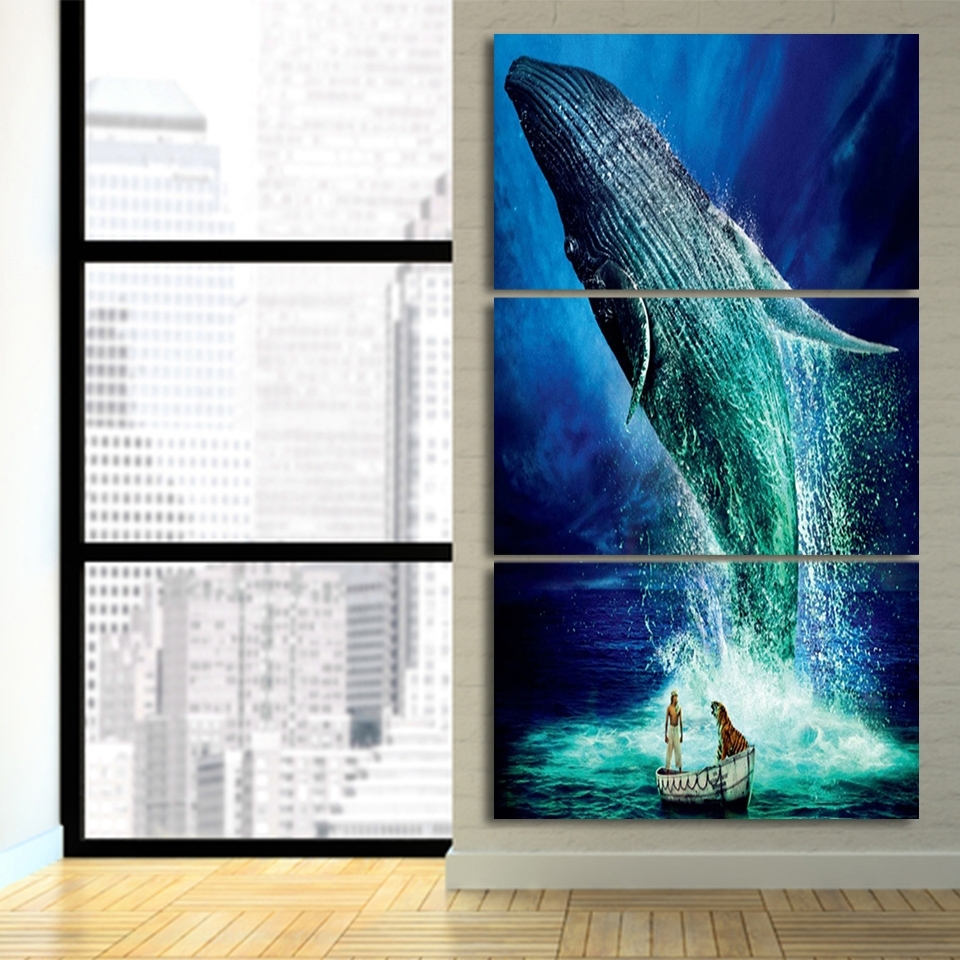 3 Pcs/set Life Of Pi Jump Blue Whale Hd Printed Framed Canvas Inside Most Popular Jump Canvas Wall Art (View 3 of 15)