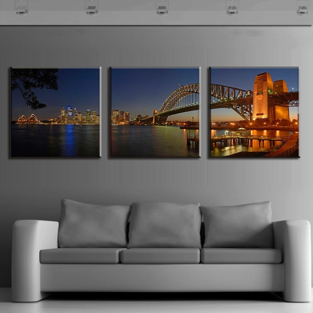 3 Pcs/set Modern Wall Paintings Sydney Harbour Bridge Night Scene With 2017 Modern Canvas Wall Art (View 3 of 15)