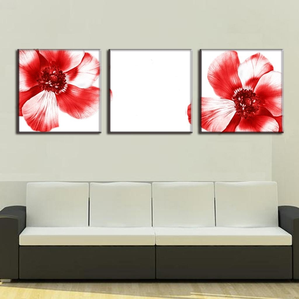 3 Pcs/set Modern Wall Paintings Two Red Flowers Canvas Prints Art Within Best And Newest Red Flowers Canvas Wall Art (View 7 of 15)