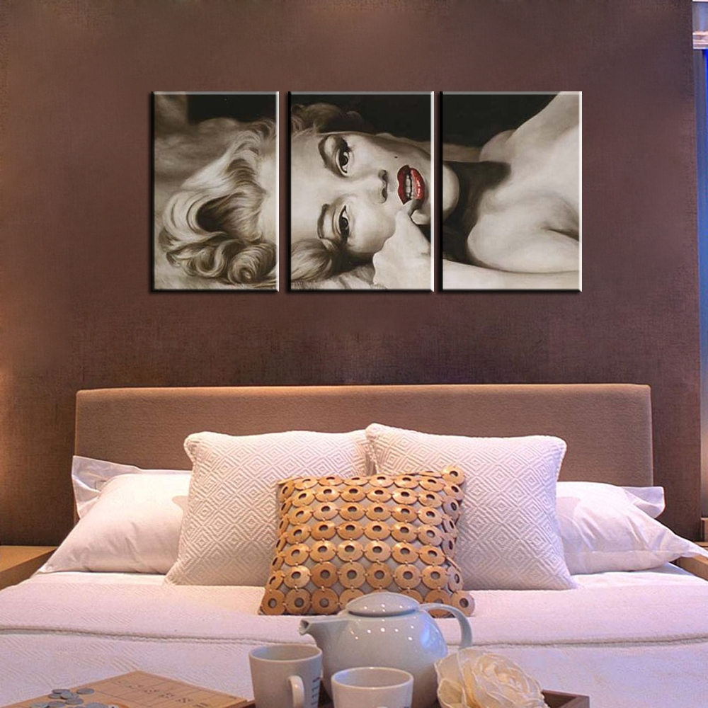 3 Piece Abstract Canvas Wall Art Marilyn Monroe Picture Black With Regard To Most Up To Date Quirky Canvas Wall Art (View 2 of 15)