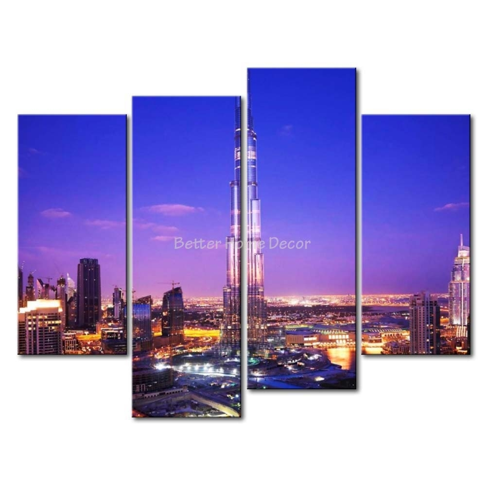 3 Piece Blue Wall Art Painting Burj Khalifa Dubai With Nice Night In Most Up To Date Dubai Canvas Wall Art (Gallery 12 of 15)