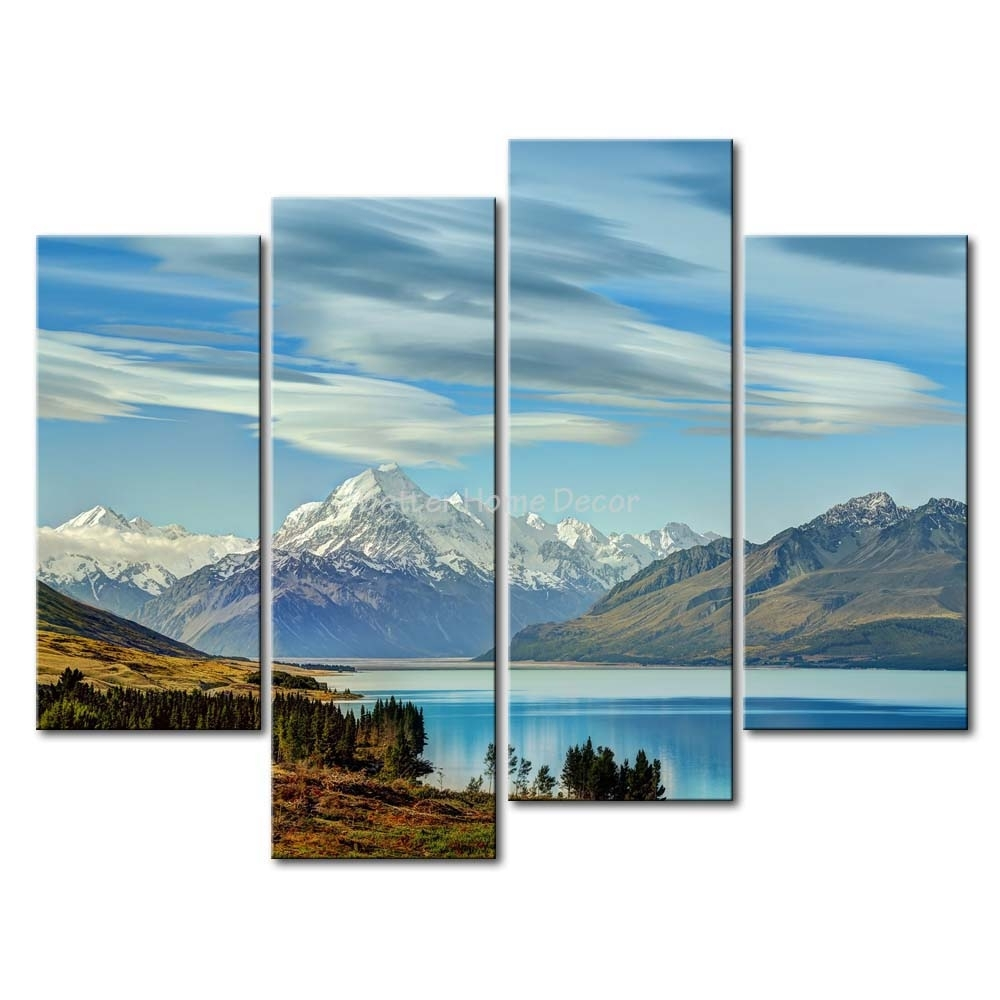 3 Piece Blue Wall Art Painting South Island New Zealand Snow Throughout 2017 New Zealand Canvas Wall Art (Gallery 2 of 15)