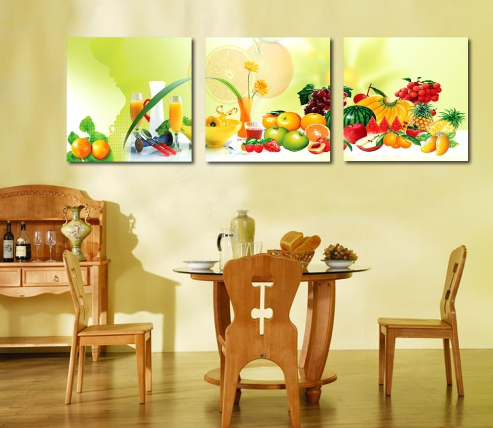 3 Piece Canvas Art Home Decoration Wall Art Painting Fruit Wall Intended For Most Recent Canvas Wall Art For Dining Room (View 3 of 15)