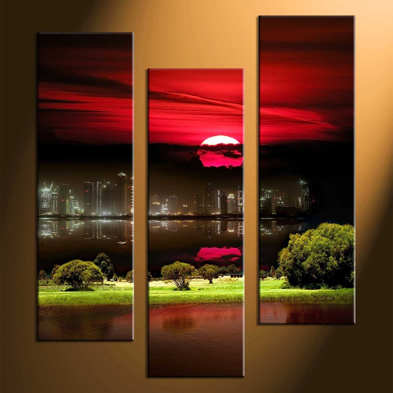3 Piece Canvas Wall Art, Piece Black Canvas City Grass Pictures Intended For Most Popular Nature Canvas Wall Art (Gallery 13 of 15)