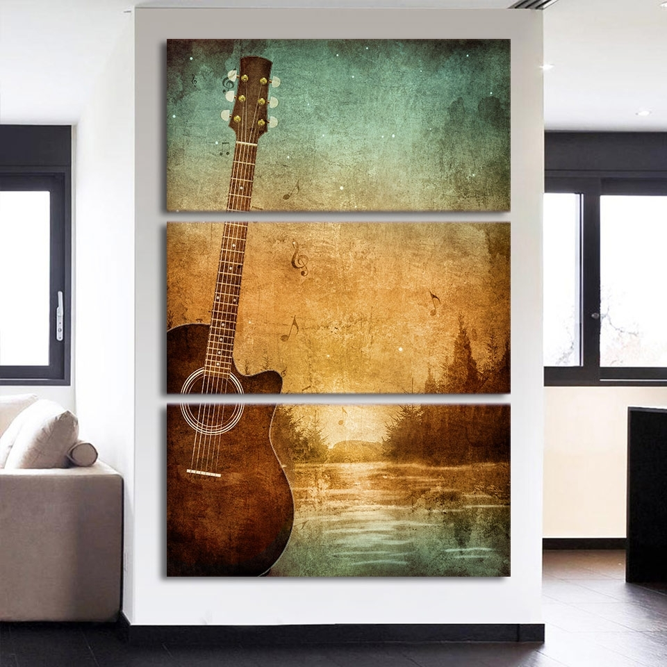 3 Piece Printed Canvas Wall Art Acoustic Guitar Lovers Pictures With Regard To Most Up To Date Living Room Canvas Wall Art (Gallery 13 of 15)