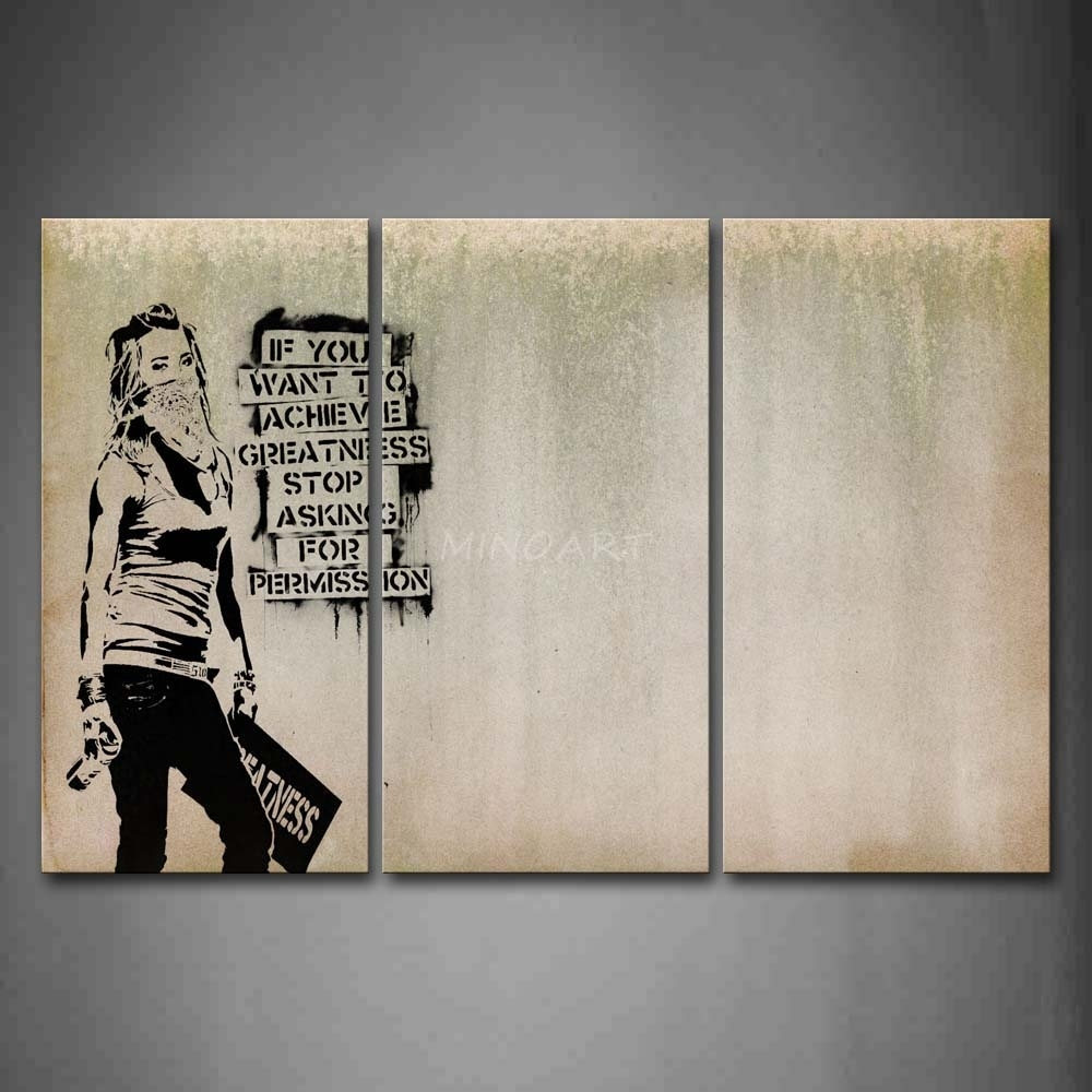 3 Piece Wall Art Painting Cool Girl Looks Arrogant Print On Canvas Regarding Most Recently Released Girl Canvas Wall Art (View 3 of 15)