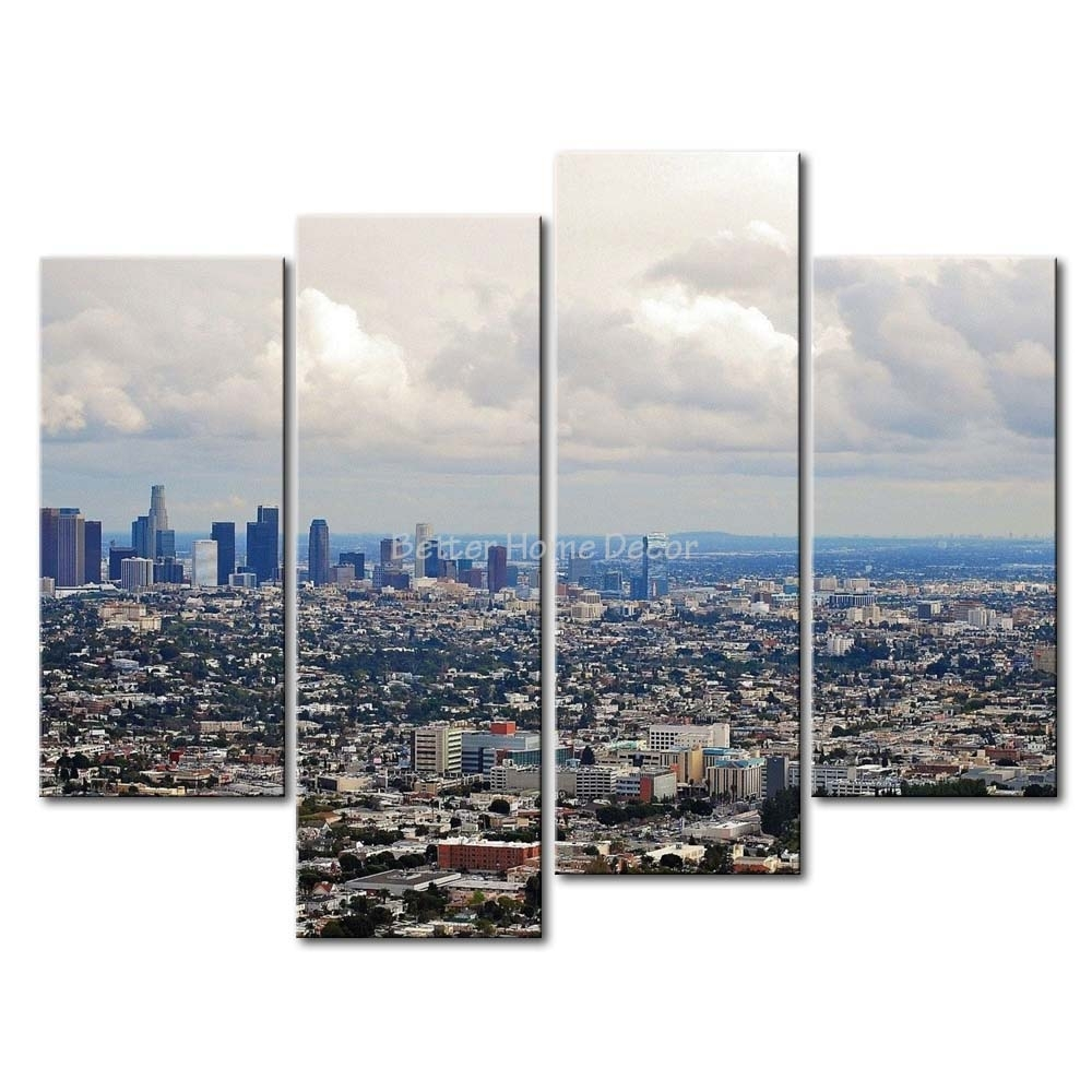 3 Piece Wall Art Painting Los Angeles House Crowd Picture Print On In 2018 Los Angeles Canvas Wall Art (Gallery 3 of 15)
