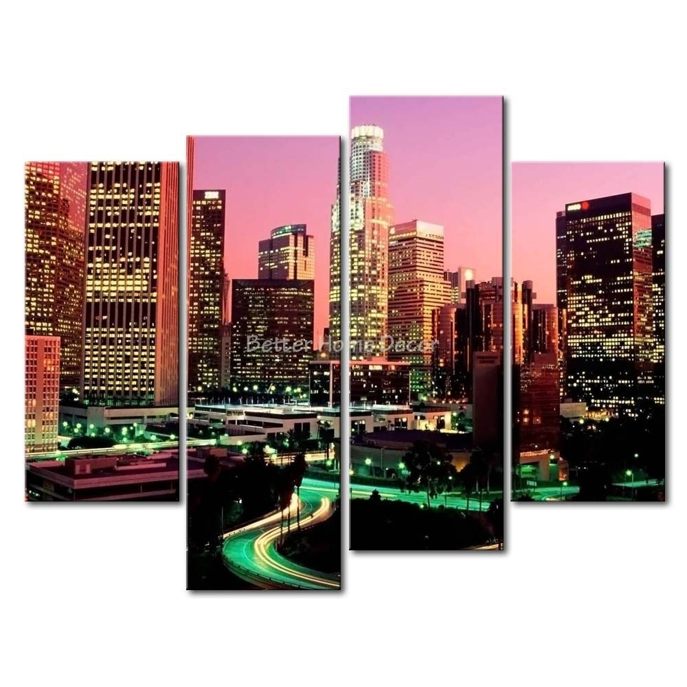 3 Piece Wall Art Painting Los Angeles With Nice Night Scene Print In Most Popular Los Angeles Canvas Wall Art (View 3 of 15)