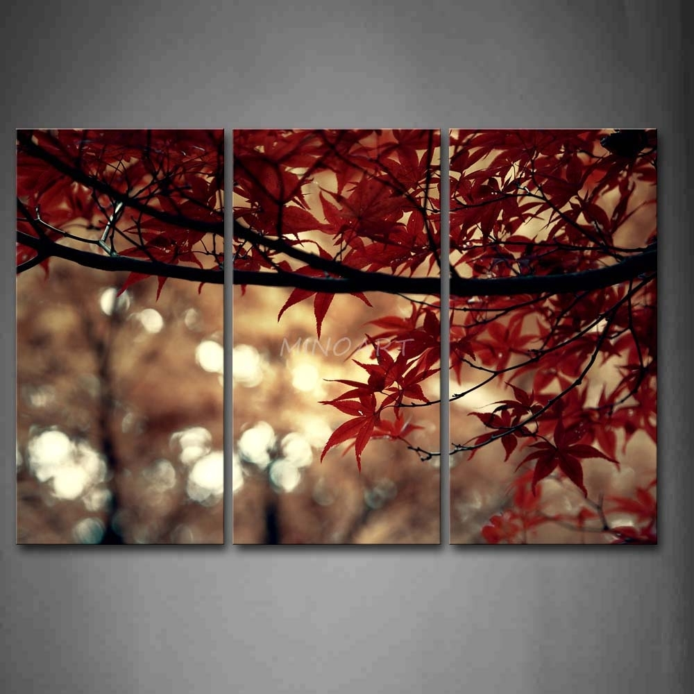 3 Piece Wall Art Painting Lush Leaves On The Branches Of Tree In 2017 Leaves Canvas Wall Art (View 3 of 15)