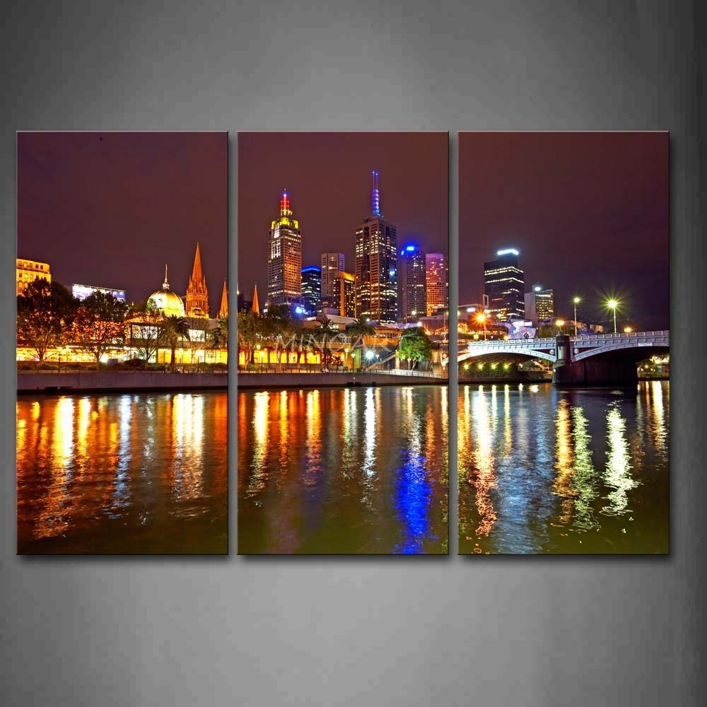 3 Piece Wall Art Painting Melbourne City Is Very Busy Print On in Latest Melbourne Canvas Wall Art