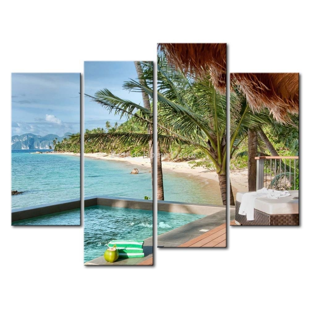 3 Piece Wall Art Painting Palawan Island Resort Philippines Honse in Most Up-to-Date Canvas Wall Art Of Philippines