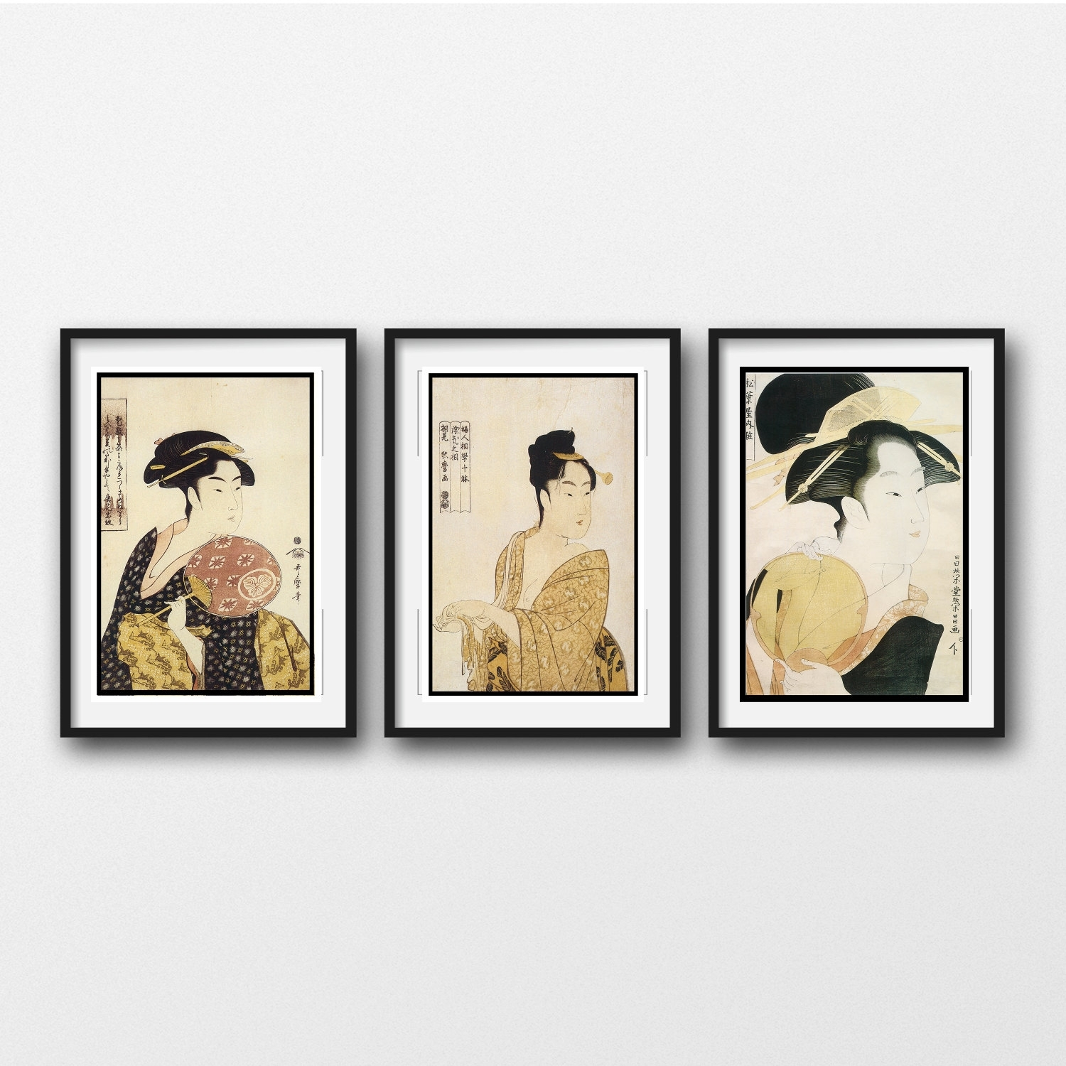 3 Piece Wall Art – Vintage Japanese Prints Matted And Framed For Most Current Black Framed Art Prints (View 8 of 15)