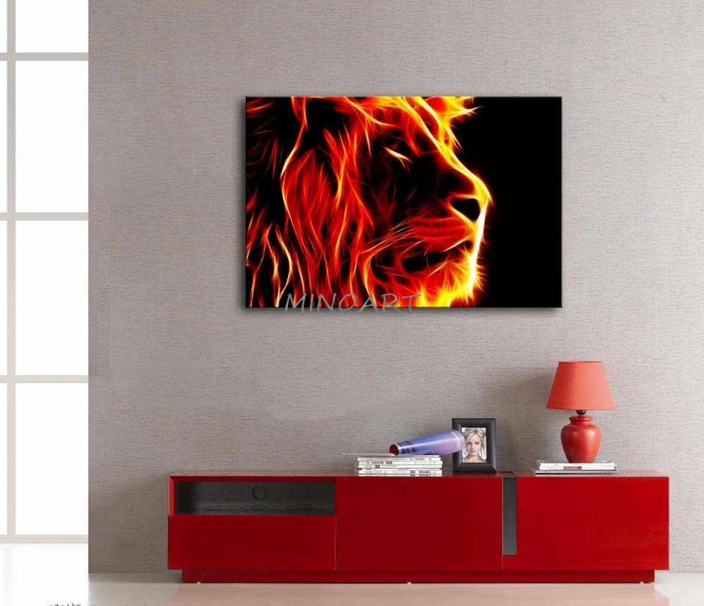 3 Piece Yellow Orange Wall Art Painting Lion Artistic Fire Black Regarding Best And Newest Orange Canvas Wall Art (View 8 of 15)