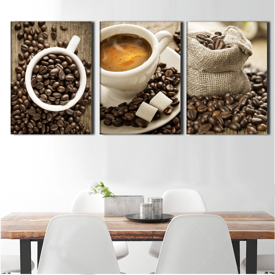 3 Pieces / Set Artistic Coffee On Canvas Painting Wall Painting Inside Most Popular Coffee Canvas Wall Art (Gallery 7 of 15)