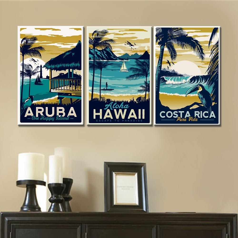3 Pieces Wall Art Canvas Paintings Hawaii Aruba Costa Rica Within Latest Hawaii Canvas Wall Art (View 3 of 15)