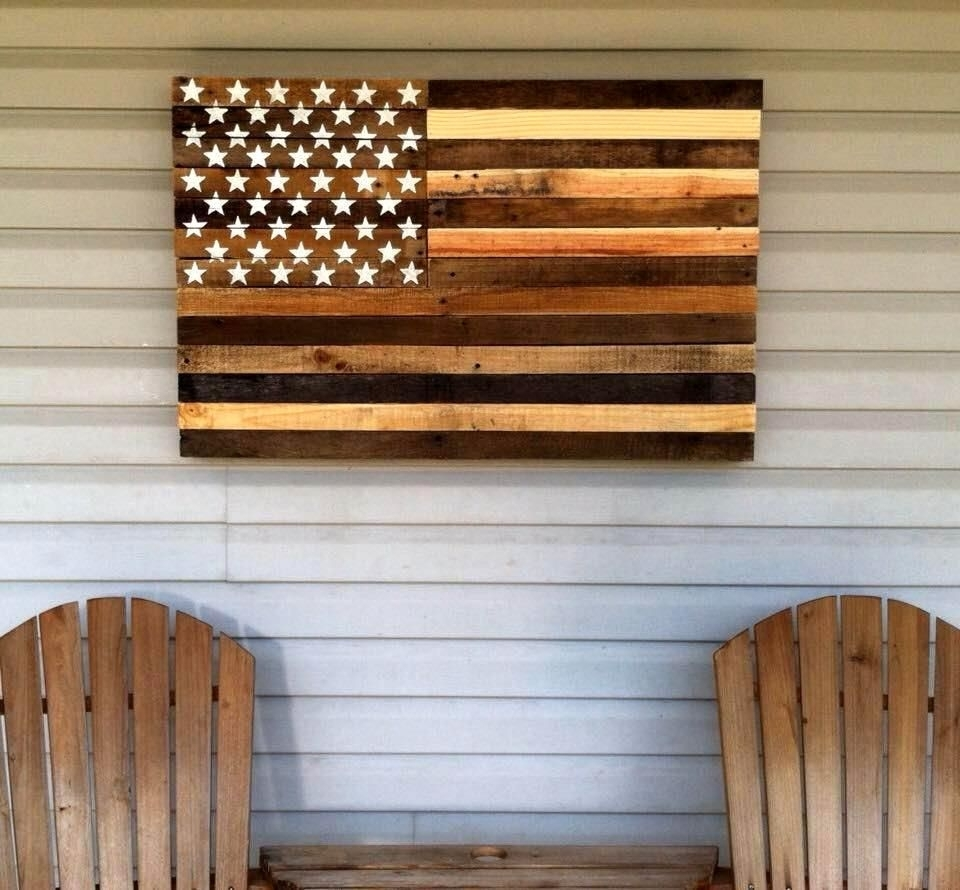 30 Pallet Projects That Will Make You Fall In Love | Pallet Flag Intended For Best And Newest Wood Pallets Wall Accents (Gallery 9 of 15)
