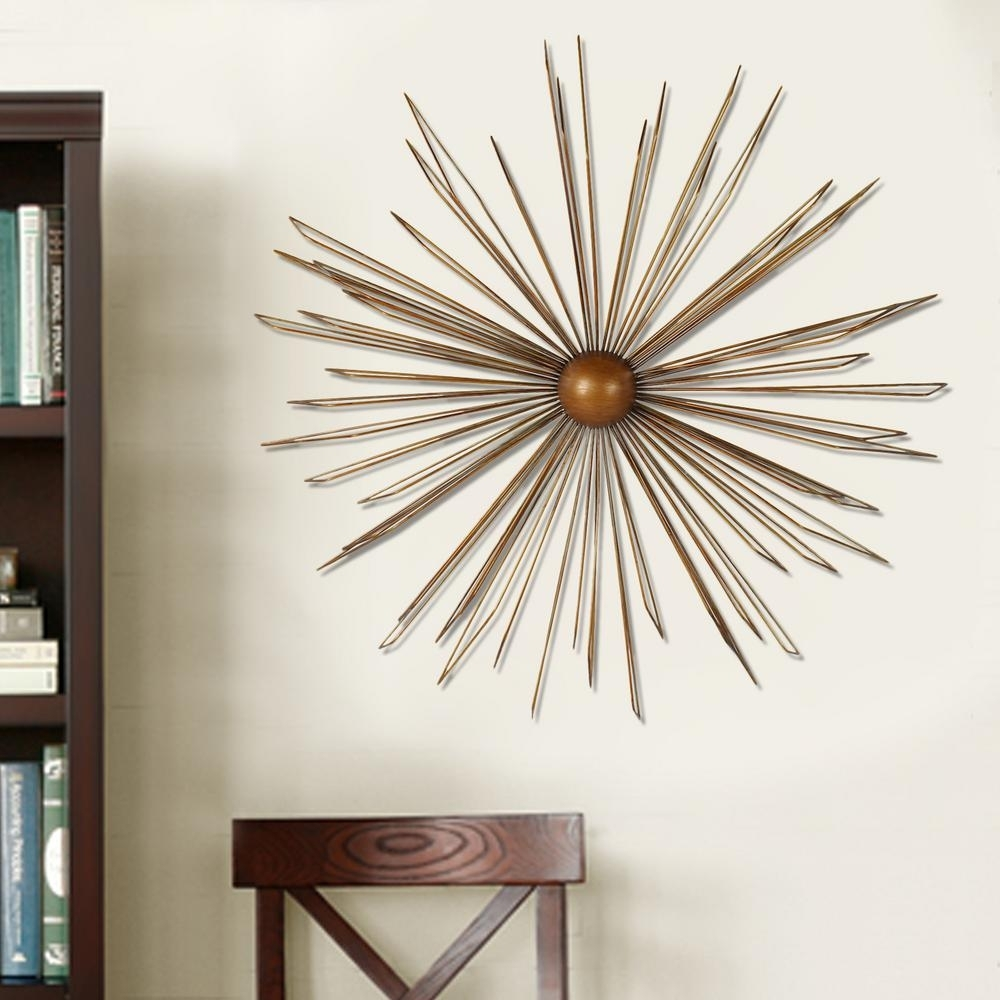 36 In. X 36 In. Modern Starburst Metal Wall Decor-Dn0012 - The within Recent Gold Wall Accents