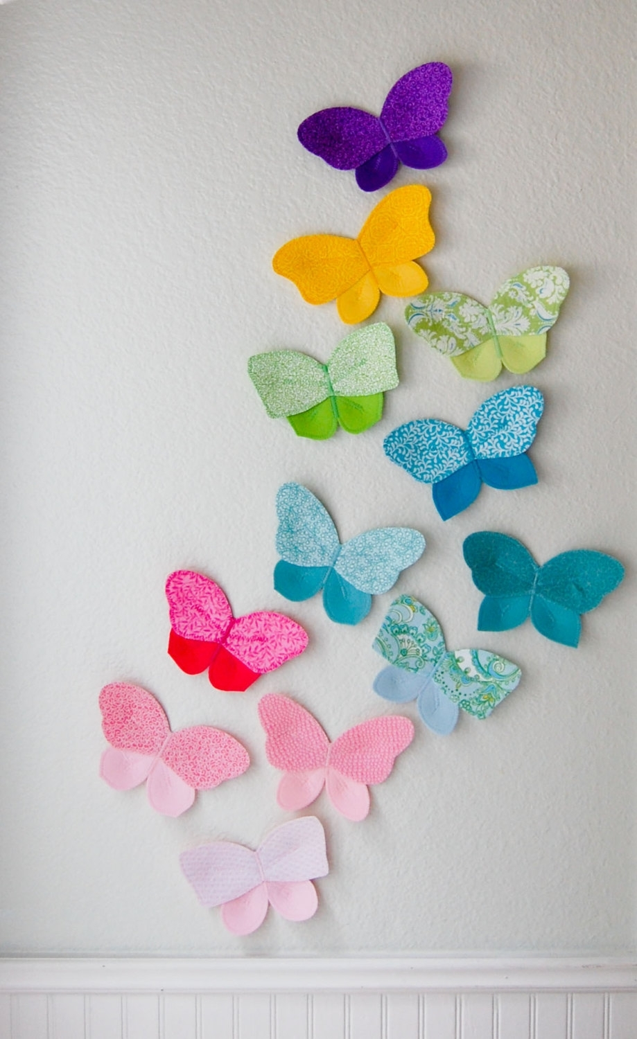 3d Fabric Butterfly, Wall Decor For Girls Room, Nursery Decor Throughout Most Recent Fabric Butterfly Wall Art (Gallery 10 of 15)