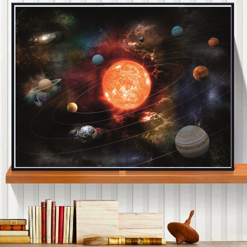 3d Solar System Canvas Art Print Painting Poster Wall Pictures For Throughout Most Recently Released Silk Fabric Wall Art (Gallery 7 of 15)