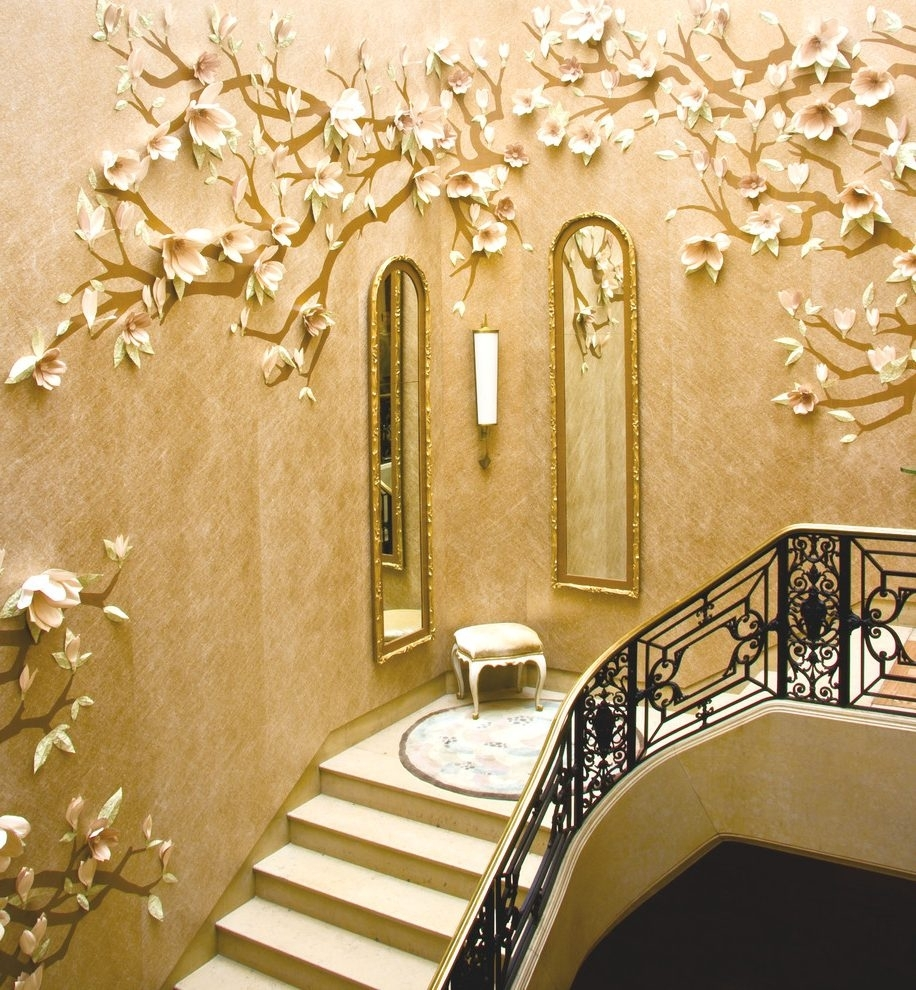 3d Wallpaper Decorating Ideas Staircase Contemporary With Drum Inside Newest Wallpaper Wall Accents (View 10 of 15)