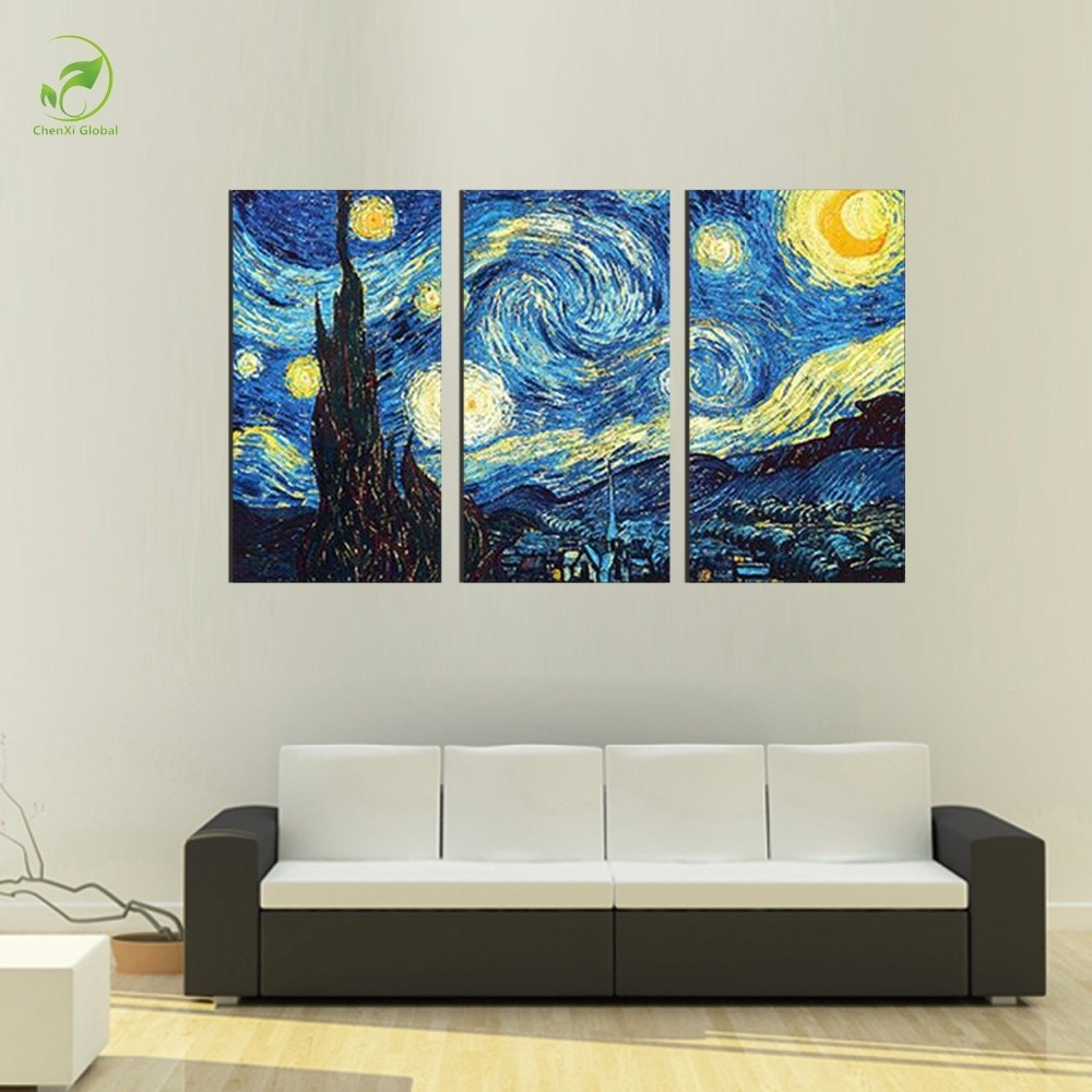 3Pcs Masters Starry Night Vincent Van Gogh Prints Reputation Oil Inside Most Up To Date Masters Canvas Wall Art (View 1 of 15)