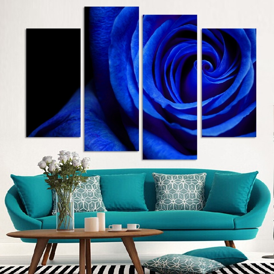 4 Panels Canvas Blue Rose Painting On Canvas Wall Art Picture Home For Recent Blue Canvas Wall Art (Gallery 14 of 15)