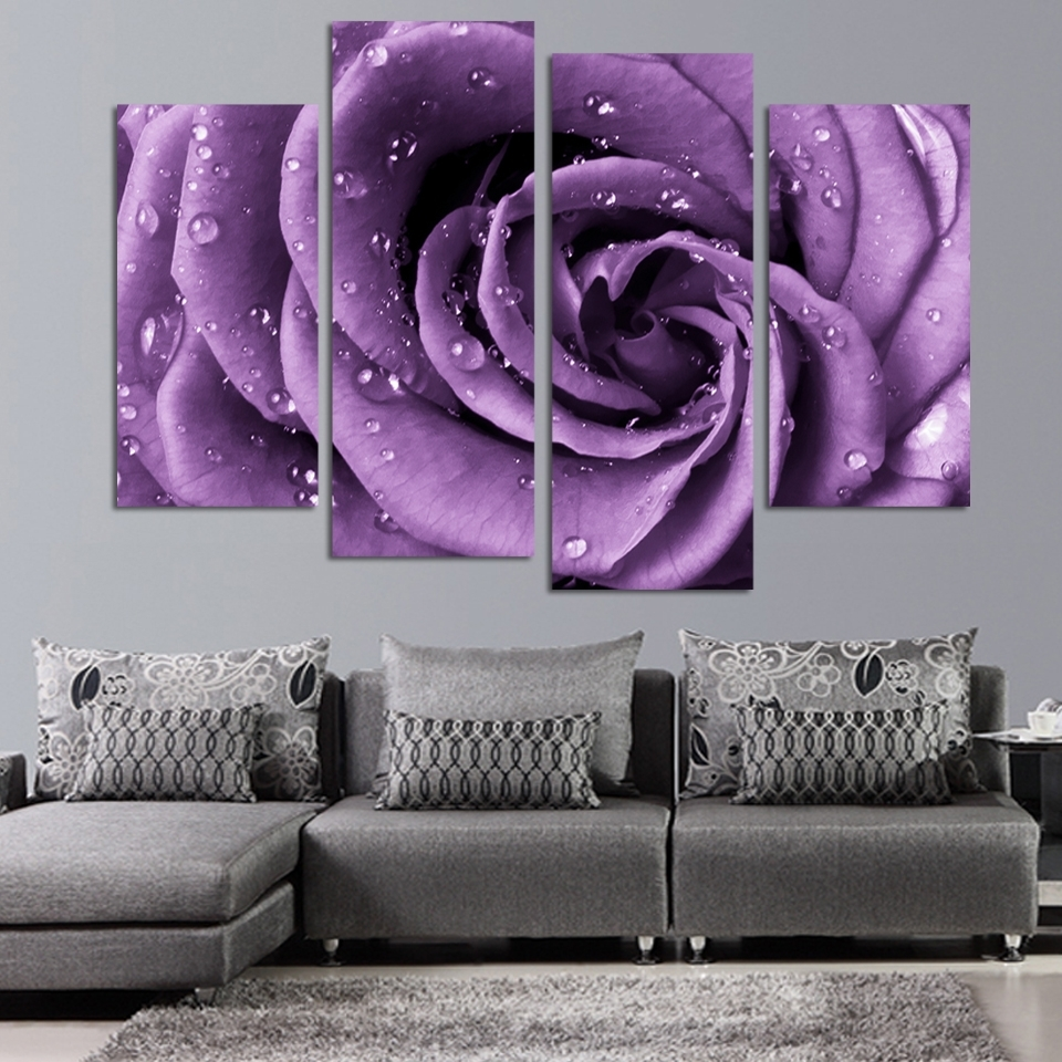 4 Panels Canvas Print Purple Rose Painting On Canvas Wall Art Regarding Latest Roses Canvas Wall Art (View 2 of 15)