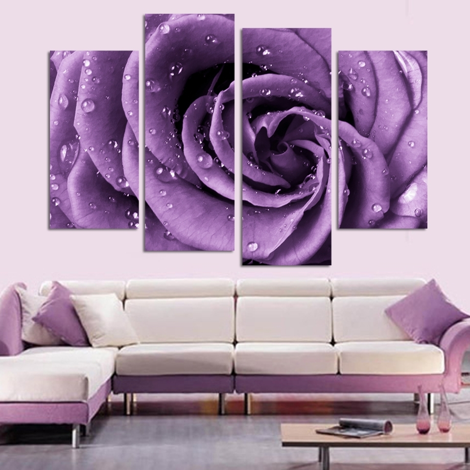 4 Panels Canvas Print Purple Rose Painting On Canvas Wall Art With Regard To 2017 Roses Canvas Wall Art (Gallery 10 of 15)