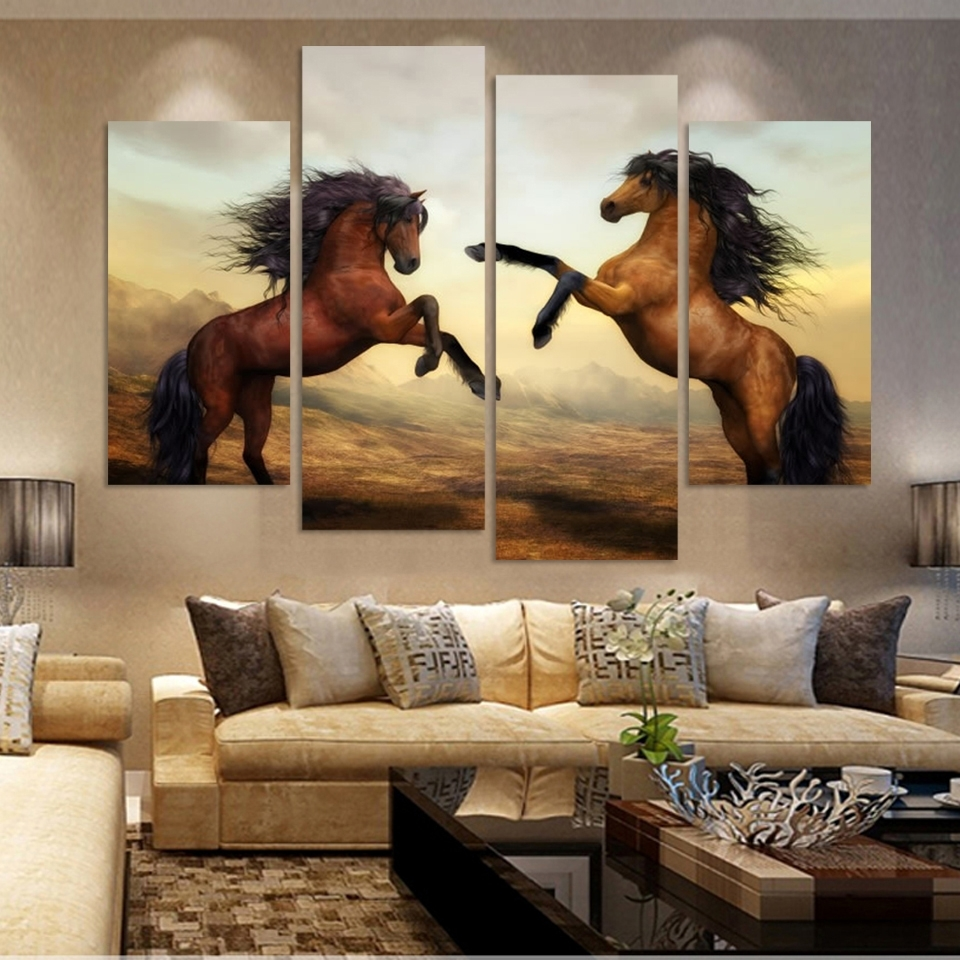 4 Panels Canvas Print Two Horse In Jumping Painting On Canvas Wall Intended For Most Up To Date Jump Canvas Wall Art (View 4 of 15)