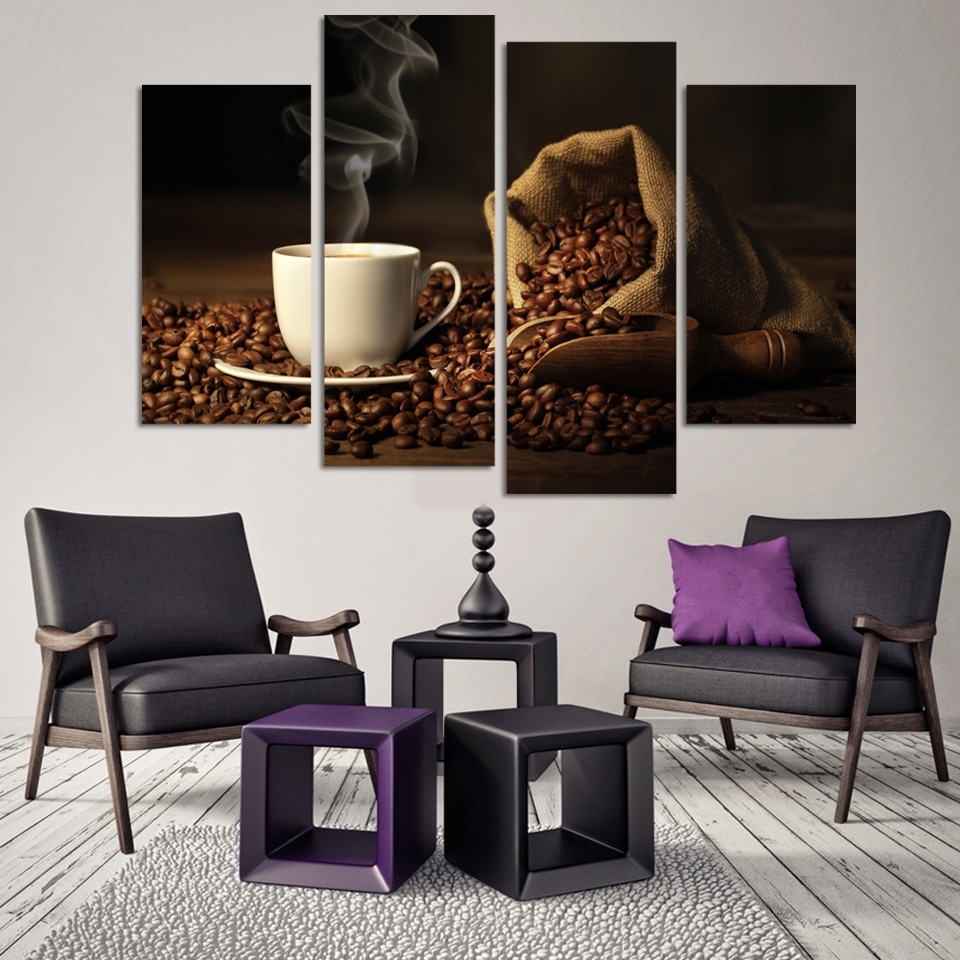 4 Panels Modern Printed Coffee Canvas Art Painting Modular With Most Current Coffee Canvas Wall Art (Gallery 3 of 15)